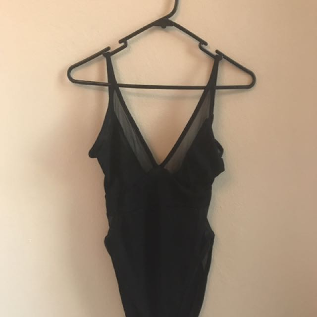 Black Mesh Backless Bodysuit
