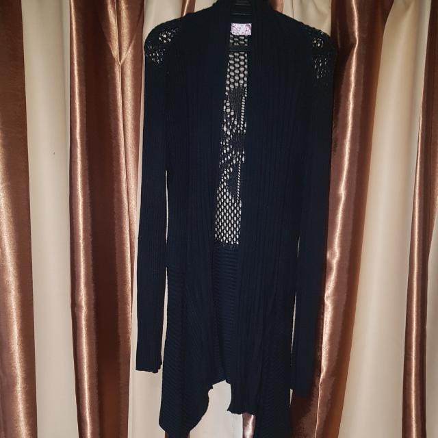 Black Mesh Knitted Cardigan Plus Size