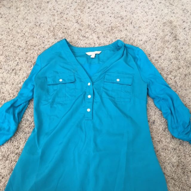 Blue 3/4 Sleeve Dress Shirt