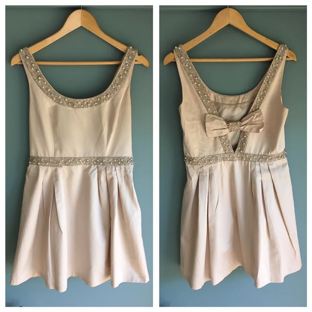 Forever New Blush Beaded Bow Dress 12