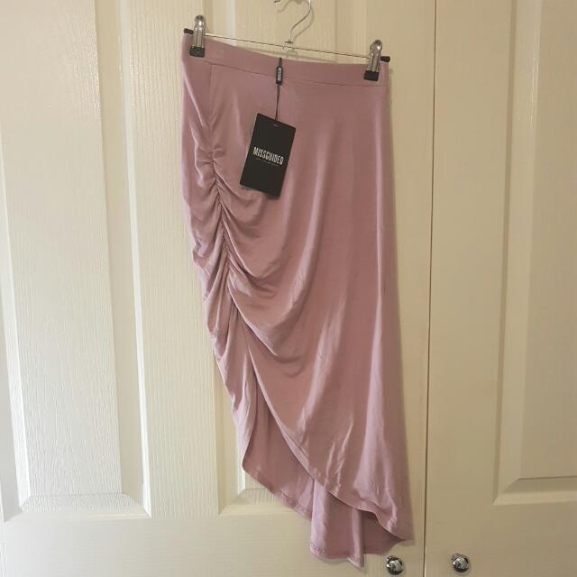 BNWT mauve/baby Pink Missguided Assymetrical Skirt Size 8