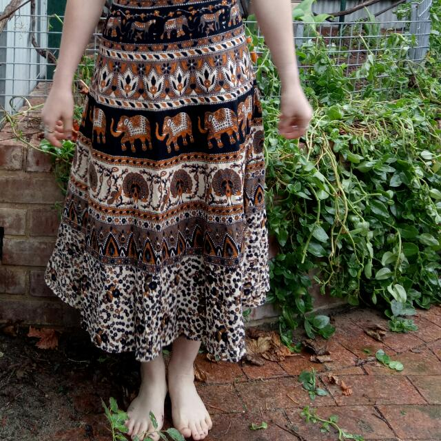 BOHO HIPPIE ETHICAL HAND PRINTED SKIRT MAXI WRAP