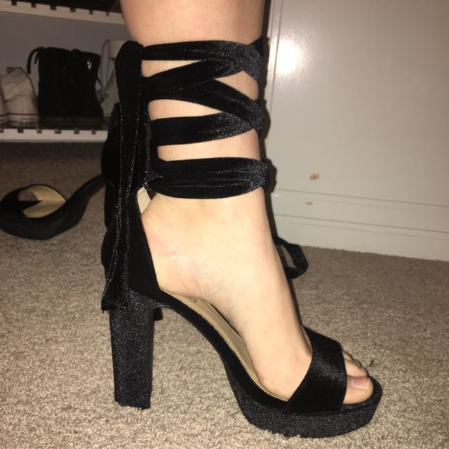 Boohoo Black Velvet Wrap Heels