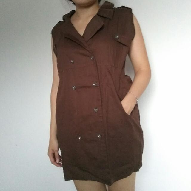 Brown Coklat Mini Dress Outer