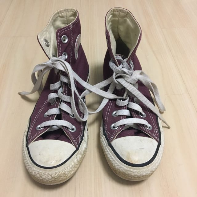 Burgandy Converse High Top Shoes
