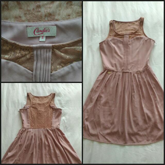 #REPRICED Candie's Mauve Dress With Lace Details - Small - Used Once