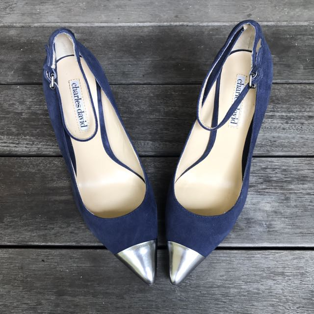 Charles David Navy Suede Shoes