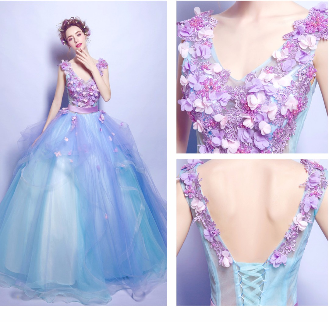 Deep V Neck Purple Blue Wedding Gown, Women'