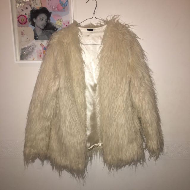 Faux White Fur Coat
