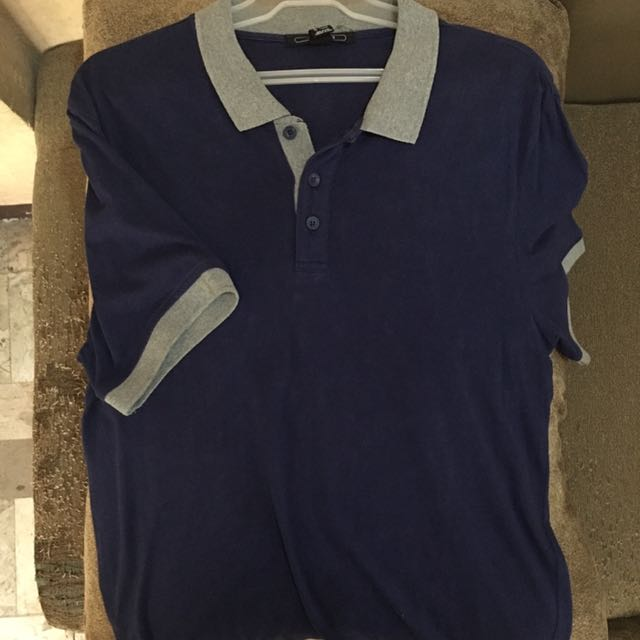 FOREVER 21 Blue and Grey Polo Shirt
