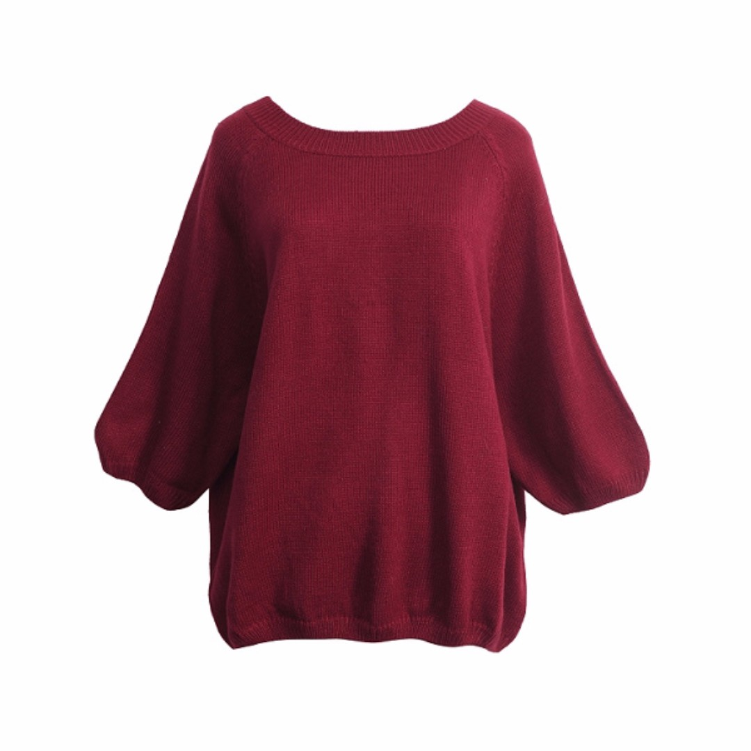 CNY SALE *100% Imported from Taiwan* Contrast Colour Trim Bow Tie Back Knit Top (Maroon)