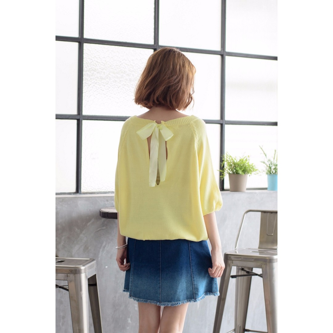 CNY SALE *100% Imported from Taiwan* Contrast Colour Trim Tie Back Bow Knit Top (Yellow)