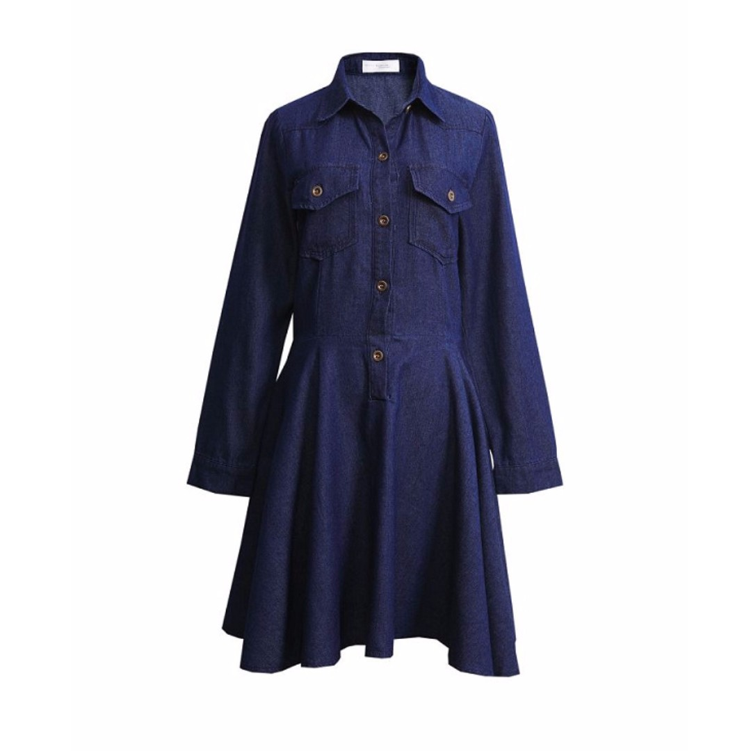 FREE SHIPPING *100% Imported from Taiwan* Denim Long Sleeve Dress With Pleated Hem