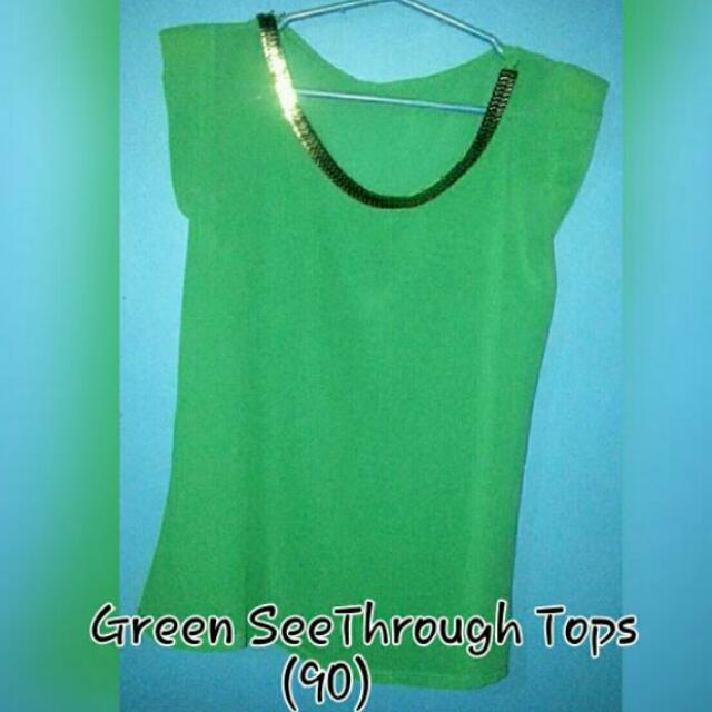 green see through tops formal