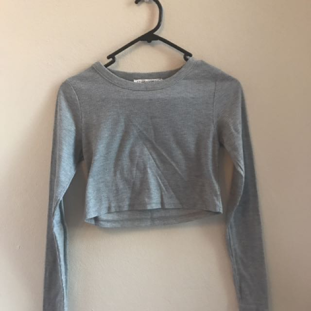 Grey Long Sleeve Crop