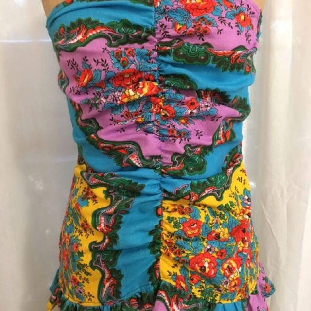 Handmade Vintage Rouched Strapless Bodice