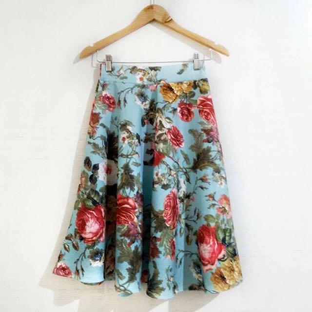 High Waist Long Skater Skirt (w/ side pockets)
