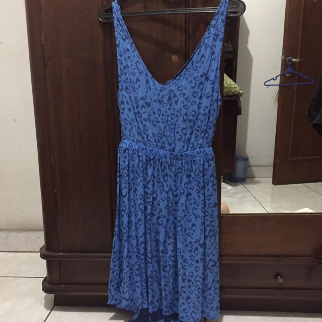 H&M LEOPARD PRINT IN BLUE SUMMER DRESS