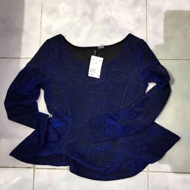 H&M Long Sleeve Glitter Top In Blue