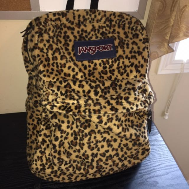 jansport cheetah print fuzzy backpack