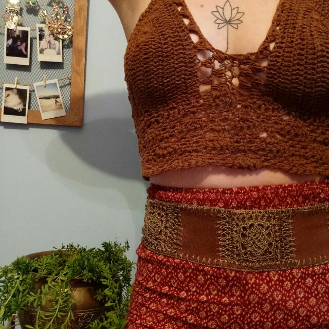 LEATHER VINTAGE CROCHET BELT