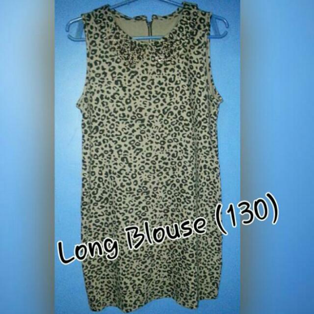 leopard print long blouse
