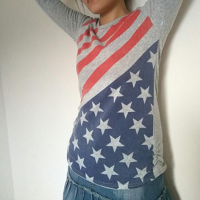 Long Sleeve American Flag Sweatshirt