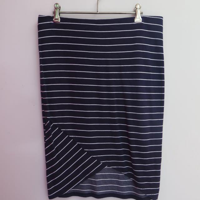 Lyla & Co. Navy Stripe Skirt