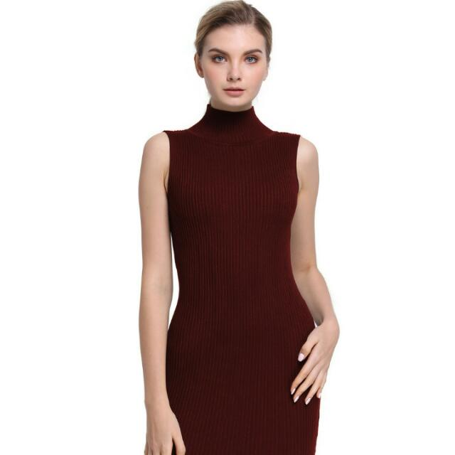 e09882629865 Maroon Knitted Turtle Neck Bodycon Dress(sleeveless)