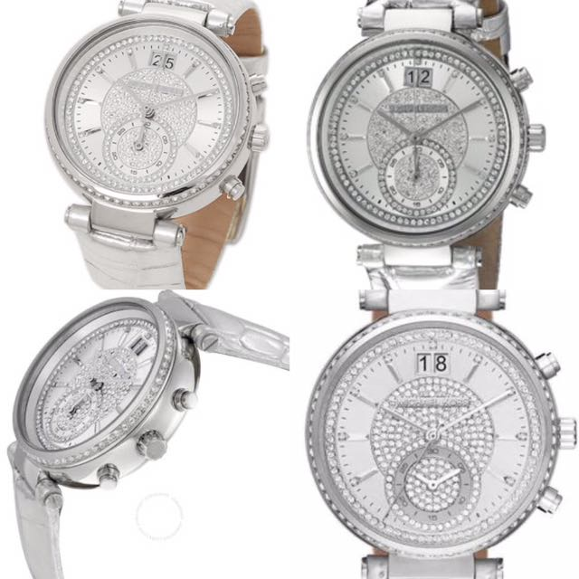 Michael Kore Sawyer Silver Crystal Pave Dial. Women's. 100% Authentic & New