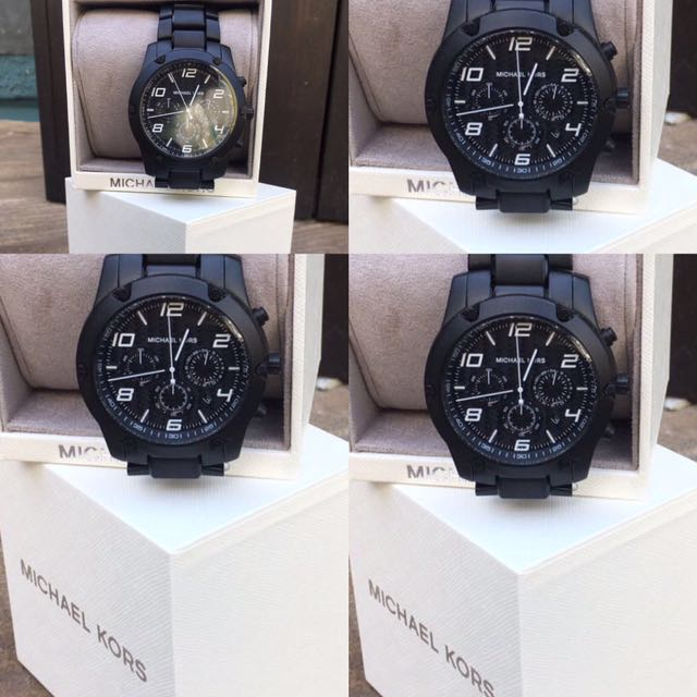 Michael Kors Men's Watch Caine Black Steel Link Chronograph. 100% Authentic/New