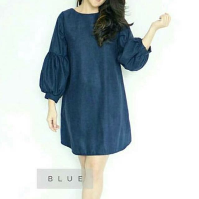 Mini Dress Navy Blue Lengan Puffy