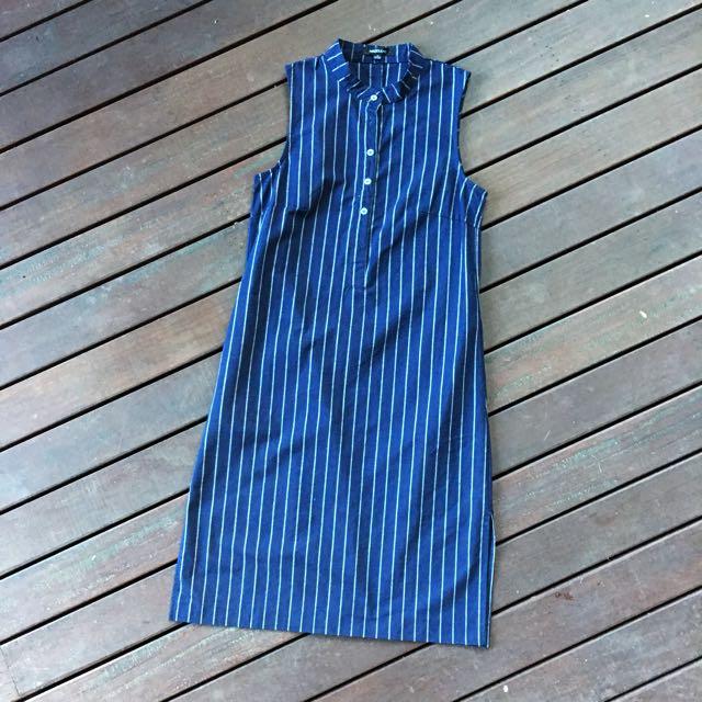 Navy Striped Midi Dress