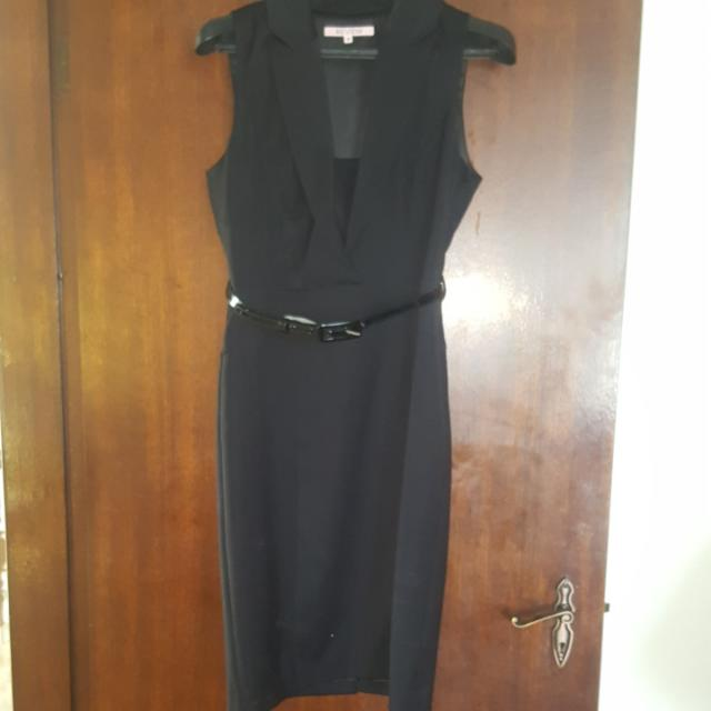 NEW Review Size 12 Black  Satin Stretch Dress