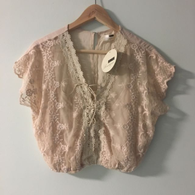 Nude Lace Flowy Shirt Top