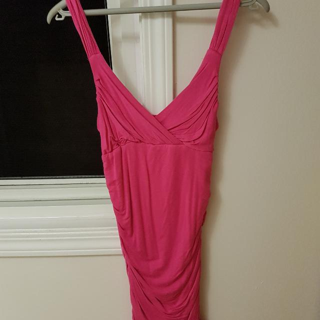 Pink Bodycon Dress With Straps
