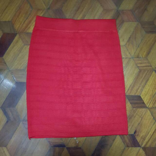 Red Knitted Skirt