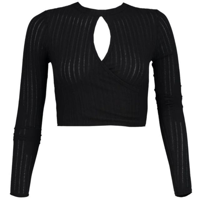Rib Knit Cross Front Crop Top