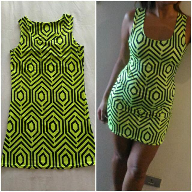 #REPRICED Yellow Green Bodycon Printed Dress