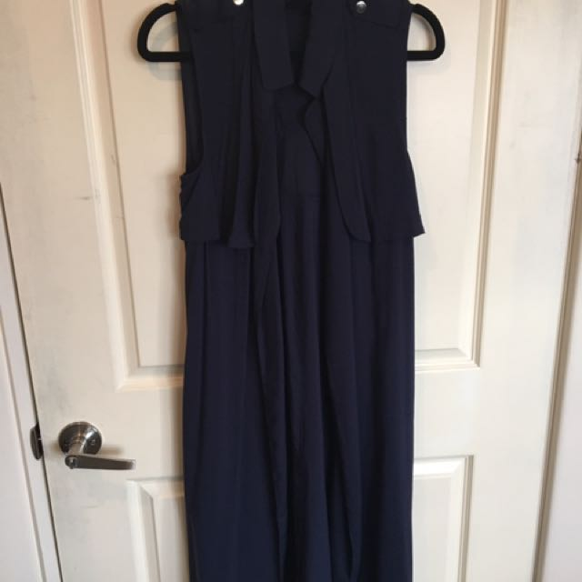 Sleeveless Cape In Navy