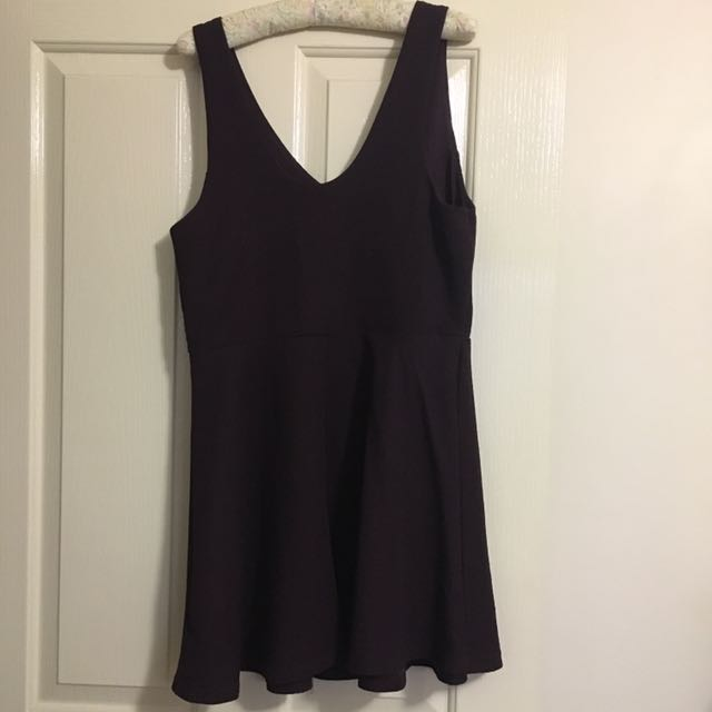 Topshop Fit And Flare Maroon Dress
