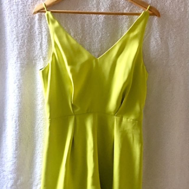 Topshop Yellow-Green Playsuit