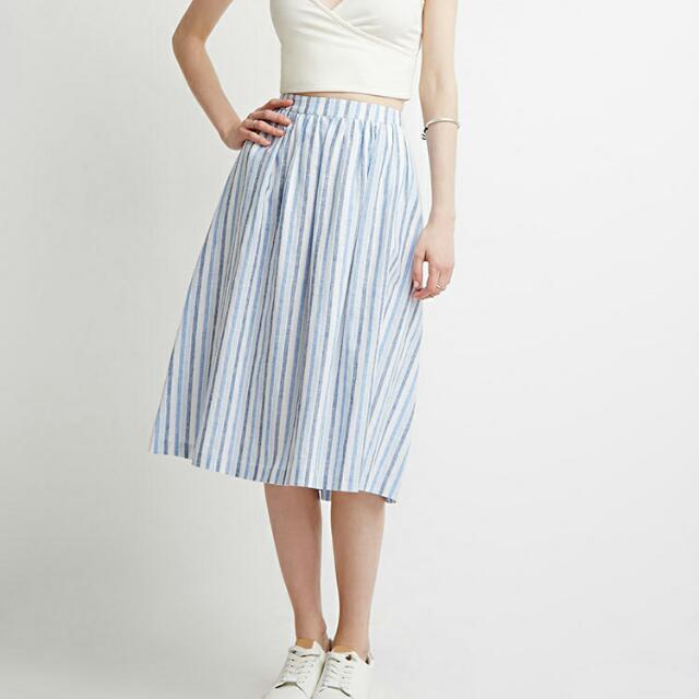 UNIQLO Striped Midi Skirt