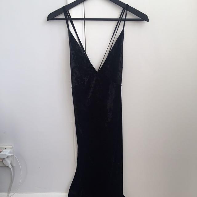 Velvet Midi Cross Over Strap Dress