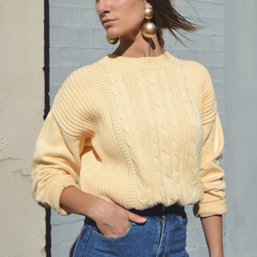 Vintage 90s Muted Yellow Cotton Cable Knit Sweater
