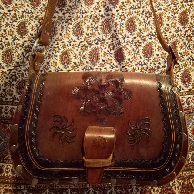 VINTAGE LEATHER BAG BOHO HIPPIE