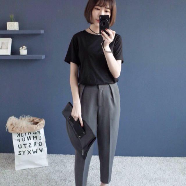 正韓-V領細節紋短袖棉T(黑色)