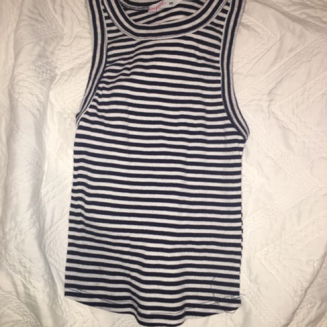 White And Blue Striped Tank Top