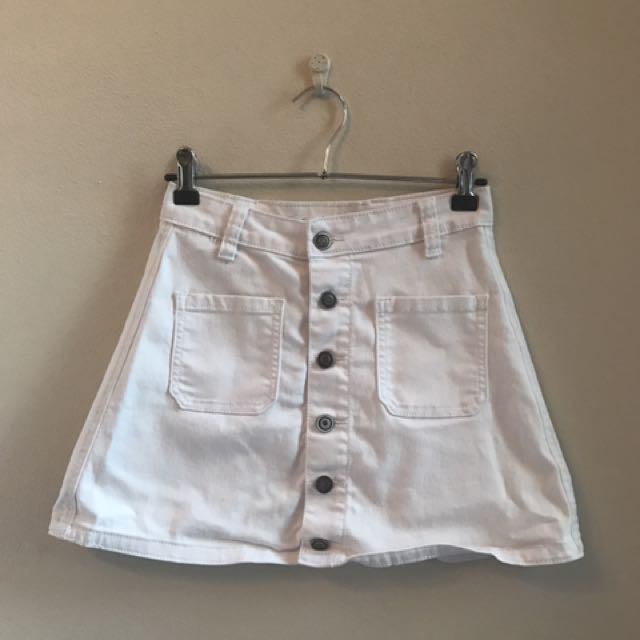 White Button Up Mini Skirt - Size 6
