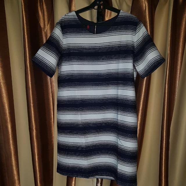 Woman Career Blue & White Stripped Dress Plus Size